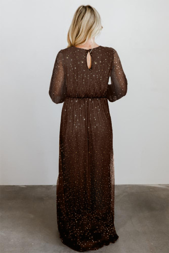 Brown Side Split Rhinestone V Neck Maxi Dress LC616380-17