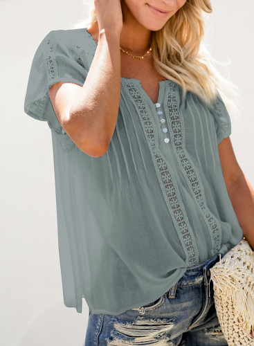 Crochet Eyelet Short Sleeves Top LC2516745-11