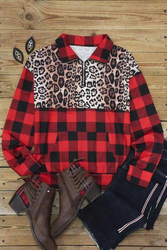 Buffalo Plaid Leopard Splicing Zipper Collar Pullover Sweatshirt LC2538599-3