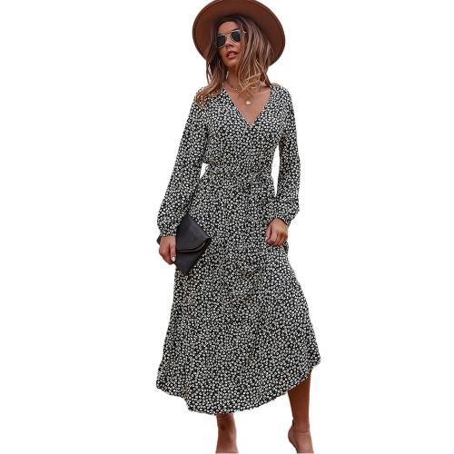 Black Floral Print Tie Waist Split Maxi Dress TQK310676-2