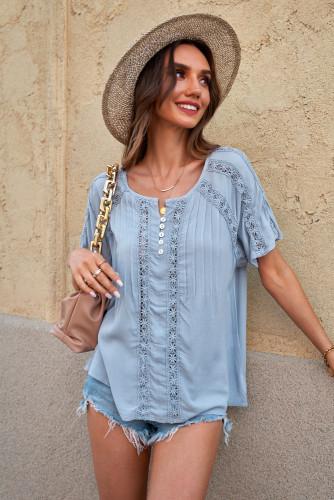 Sky Blue Crochet Eyelet Short Sleeves Top LC2516745-4