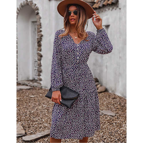 Navy Blue Floral Print V Neck Long Sleeve Dress TQK310675-34