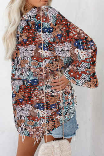 Blue Floral Print Drawstring Long Bell Sleeve Blouse LC2518020-5