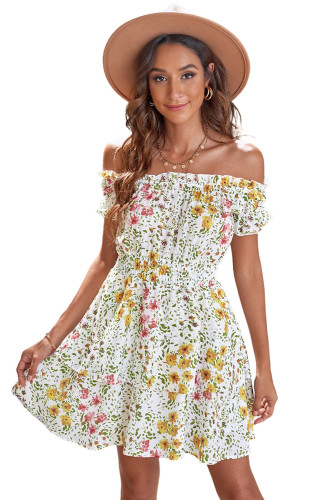Yellow Ruffled Off Shoulder Floral Dress LC226253-7