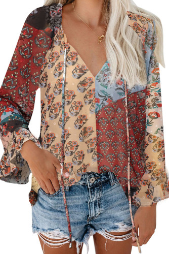 Multicolor Floral Print Drawstring Long Bell Sleeve Blouse LC2518020-22