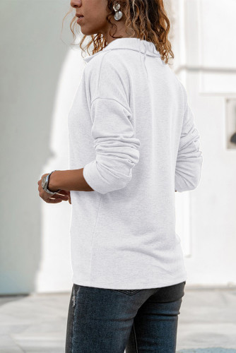 White Turn-down V Neck Long Sleeve Top LC25110301-1