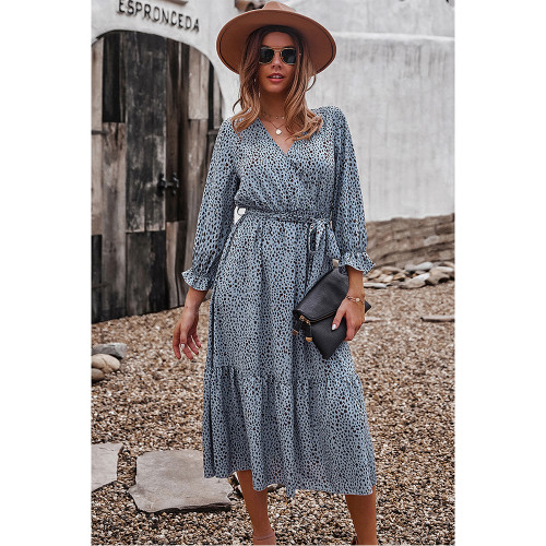 Blue V Neck Tie Waist Long Sleeve Maxi Dress TQK310677-5