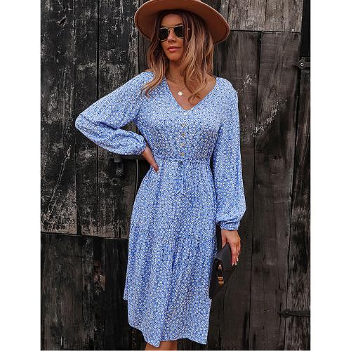 Light Blue Floral Print V Neck Long Sleeve Dress TQK310675-30