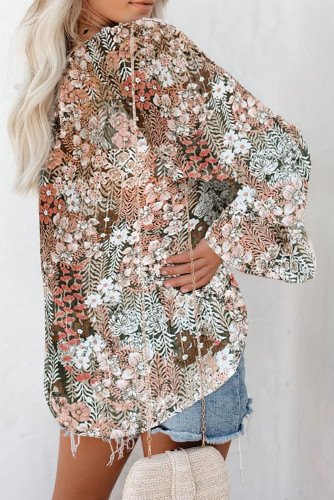 Floral Print Drawstring Long Bell Sleeve Blouse LC2518020-16