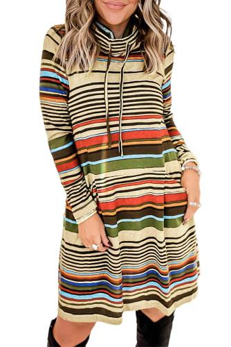 Striped Turtleneck Long Sleeve Shirt Mini Dress with Pocket LC2210043-22