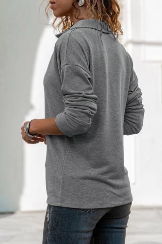 Gray Turn-down V Neck Long Sleeve Top LC25110301-11