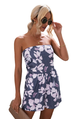 Gray Bandeau Floral Print Romper with Pockets LC642083-11