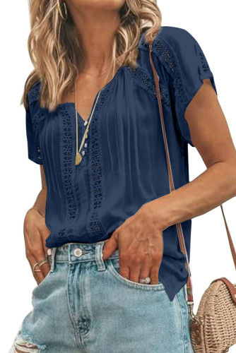 Blue Crochet Eyelet Short Sleeves Top LC2516745-5