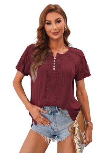 Wine Red Crochet Eyelet Short Sleeves Top LC2516745-3