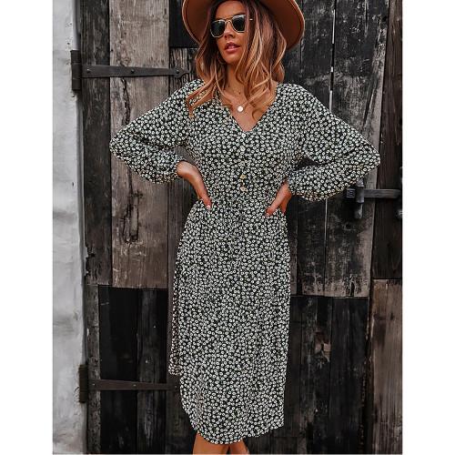 Black Floral Print V Neck Long Sleeve Dress TQK310675-2