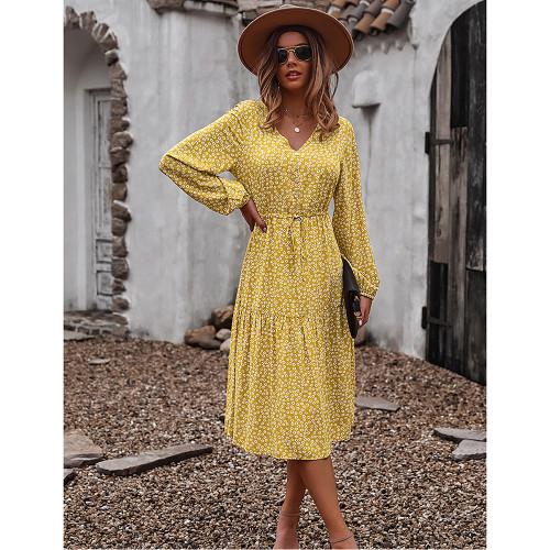 Yellow Floral Print V Neck Long Sleeve Dress TQK310675-7