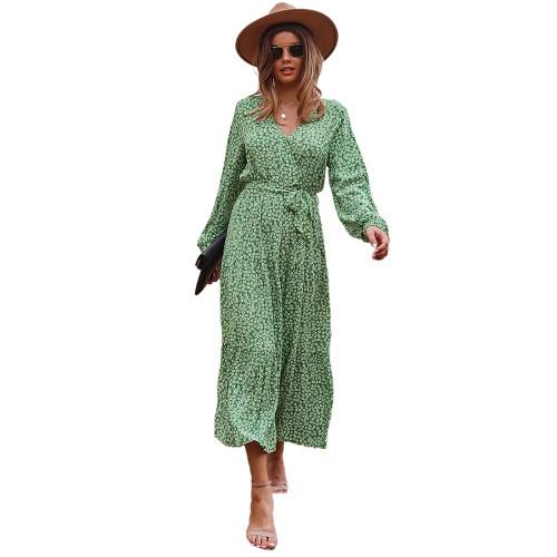 Light Green Floral Print Tie Waist Split Maxi Dress TQK310676-28