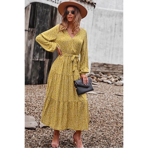 Yellow Floral Print Tie Waist Split Maxi Dress TQK310676-7