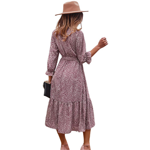 Pink V Neck Tie Waist Long Sleeve Maxi Dress TQK310677-10