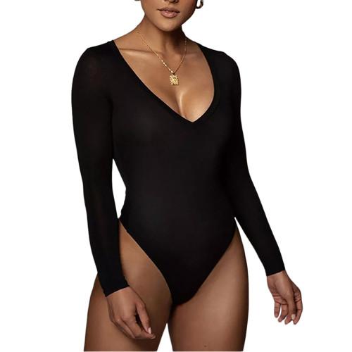 Black V Neckline Long Sleeve Bodysuit TQK550263-2