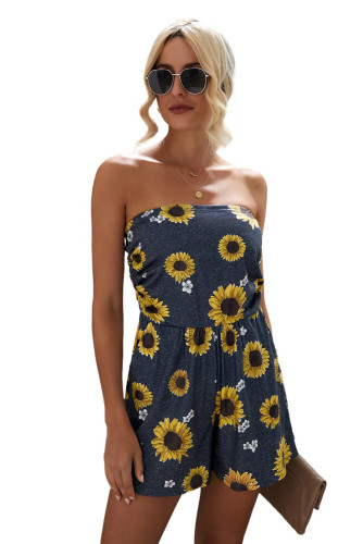 Yellow Floral Print Bandeau Romper with Pockets LC642083-7