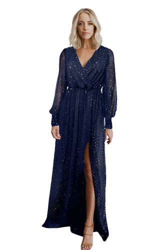Blue Side Split Rhinestone V Neck Maxi Dress LC616380-5