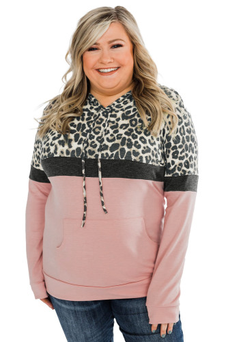 Pink Leopard Patchwork Drawstring Plus Size Hoodie With Pocket LC253714-10