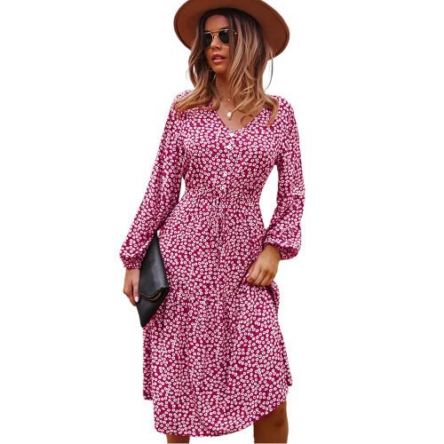 Red Floral Print V Neck Long Sleeve Dress TQK310675-3