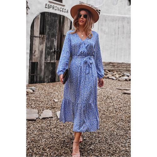 Blue Floral Print Tie Waist Split Maxi Dress TQK310676-5