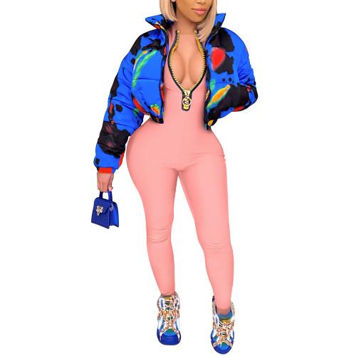 Pink Zipper Stand Collar Long Sleeve Jumpsuit TQK550265-10