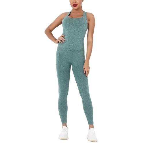 Green Back-Criss Seamless Yoga One Piece Jumpsuit TQE91567-9