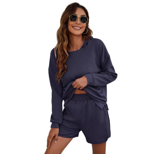 Navy Blue Slit Hoodie and Shorts Lounge Set TQK710406-34