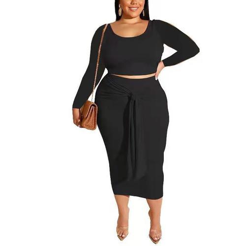 Black Long Sleeve Crop Top and Tie Waist Skirt Plus Size Set TQK710408-2