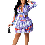 Blue Print Shirt and Pleated Mini Skirt Set TQK710407-5