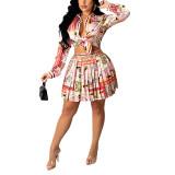 Light Pink Print Shirt and Pleated Mini Skirt Set TQK710407-39