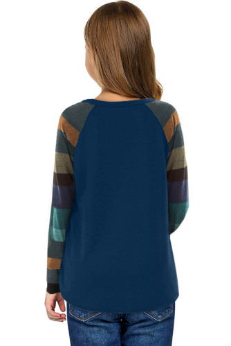 Blue Striped Color Block Girl's Long Sleeve Top TZ25579-5