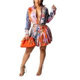 Orange Print Shirt and Pleated Mini Skirt Set TQK710407-14