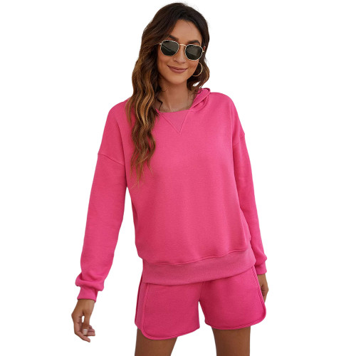 Rosy Slit Hoodie and Shorts Lounge Set TQK710406-6
