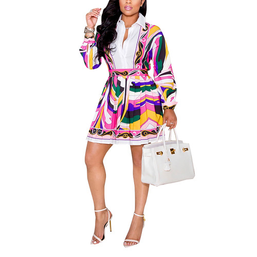 Multicolor Print Shirt and Pleated Mini Skirt Set TQK710407-29