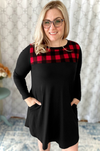 Red Checkered Print Splicing Plus Size Dress LC617791-3