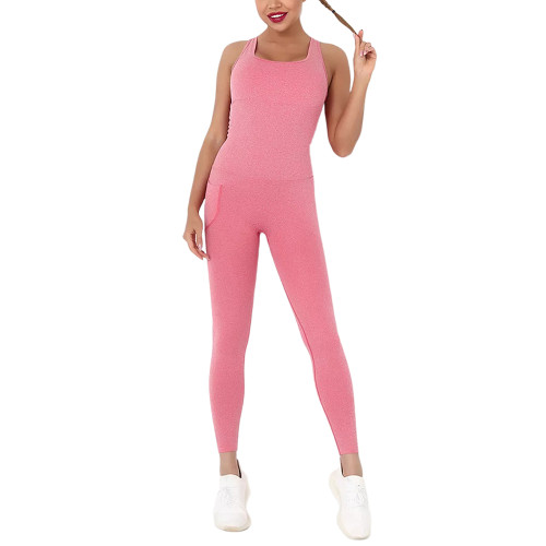 Red Back-Criss Seamless Yoga One Piece Jumpsuit TQE91567-3