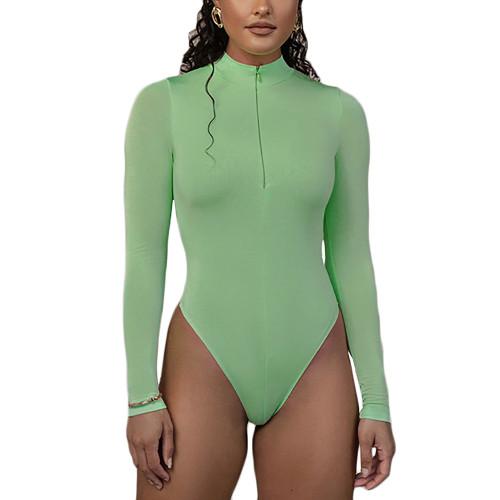 Light Green Zipper-up High Neck Long Sleeve Bodysuit TQK550264-28