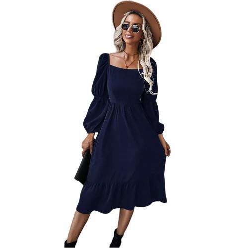 Navy Blue Square Neck Ruffle Detail Long Sleeve Dress TQK310685-34