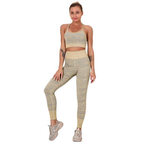 Khaki Striped Print Yoga Bra with Pant Sports Set TQE91568-21