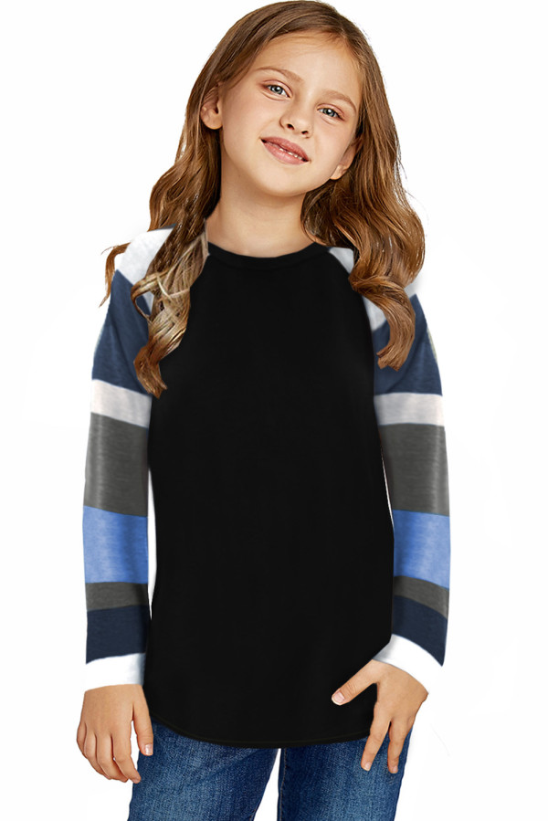 Black Striped Color Block Girl's Long Sleeve Top TZ25579-2