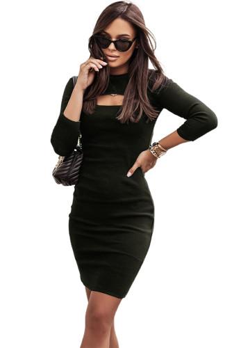 Black Cut-out Long Sleeve Bodycon Mini Dress LC2210052-2