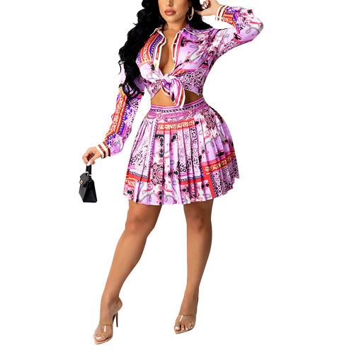 Purple Red Print Shirt and Pleated Mini Skirt Set TQK710407-32