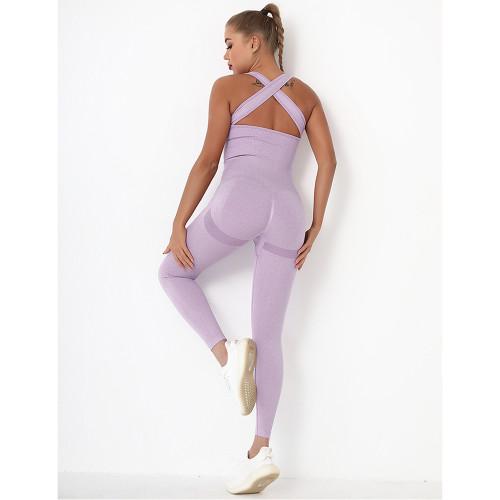 Light Purple Back-Criss Seamless Yoga One Piece Jumpsuit TQE91567-38
