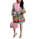 Pink Print Shirt and Pleated Mini Skirt Set TQK710407-10