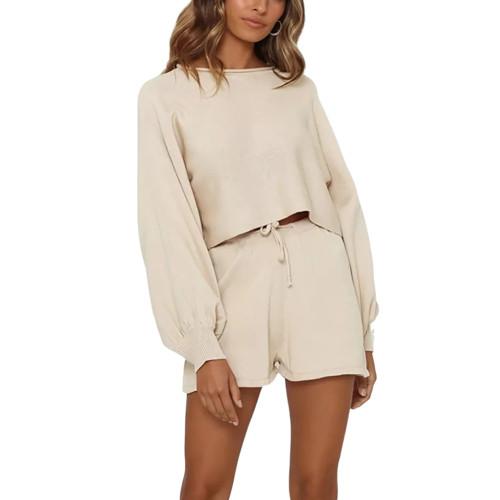Apricot Lantern Sleeve Sweater Set TQK710405-18